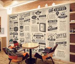 coffee shop background design custom retro wallpaper hand drawn food icon newspaper for living