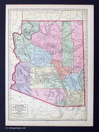 Arizona Map State by States A G Vintage Maps