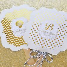 custom paper fans personalized metallic foil wedding paddle fans