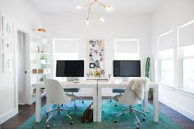 Home Office With Two Desks Turquoise And Teal Rug Contemporary Den Library Office
