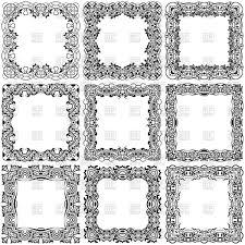 big set of square vintage ornamental frames vector clipart image