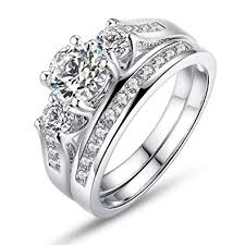 white stones rings images Bamoer set of 2 white gold plated rings with cubic jpg