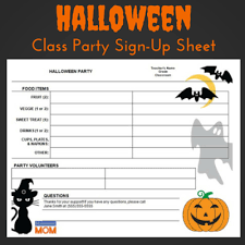 halloween classroom party sign up sheet halloween parties