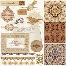 wedding scrapbook vintage wedding scrapbook set tiles and birds in vector