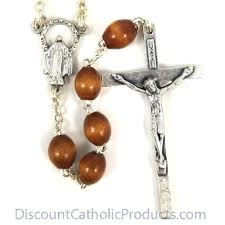 mens rosary silver men s rosary with oval wood