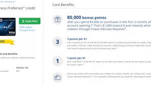 Chase Visa Business Credit Card Chase Ink Business Preferred Complete Review 80 000 Point Bonus