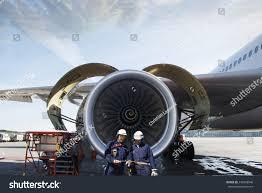Turbine Engine Mechanic Airplane Mechanics Giant Jet Engine Repair Stock Photo 245868946