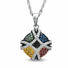 color diamond necklace images 1 2 ct t w enhanced multi color diamond pendant in sterling jpg