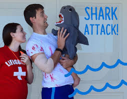 Easy Family Halloween Costumes Quick And Easy Family Halloween Costume Idea Shark Shark Attack