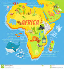 Maps Of Africa by Cartoon Map Of Africa With Animals Stock Vector Image 61953417
