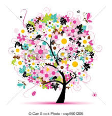 clipart vector of summer floral tree for your design csp5501205