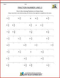 fraction number line sheets