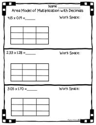 nbt b 7 area model with multiplication of decimals worksheet
