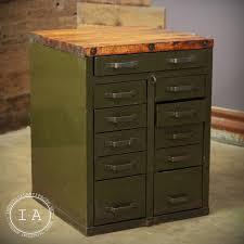 vintage steel 11 drawer butcher block cabinet island counter