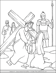stations of the cross coloring pages 4 jesus meets his mother