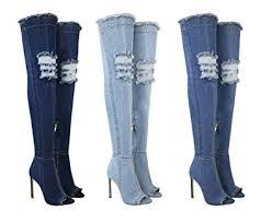 womens denim boots uk womens the knee boots thigh high heels stilettos