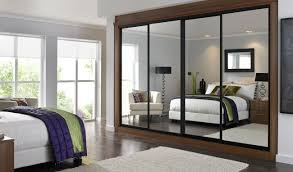 interior minimalist study room design with sliding mirrored mirror