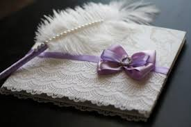 purple wedding guest book purple white signin book and ostrich feather violet pen wedding