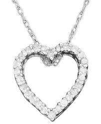 white gold hearts necklace images Macy 39 s diamond heart pendant necklace in 14k white gold 1 10 ct tif
