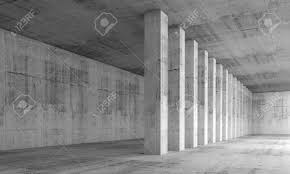 interior concrete walls abstract architecture background empty interior with concrete