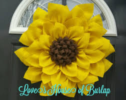 burlap sunflower wreath sunflower wreath etsy
