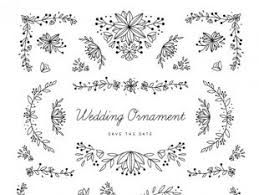 white wedding ornament of leaves collection free vectors ui