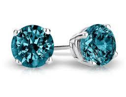blue stud earrings blue solitaire diamond stud earrings 1 2 carat ctw in 14k white