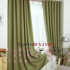 Vintage Green Curtains Vintage Embroidered Floral Pattern Olive Linen Cotton Blend Energy