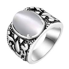 vintage rings aliexpress images Antique silver male ring vintage rings men jewelry white orange jpg