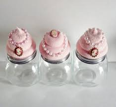 cupcake canisters for kitchen set of 3 cameo cupcake canisters jars jewelry storage containers
