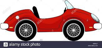 Funny Red Convertible Car Cartoon Isolated On White Background Stock