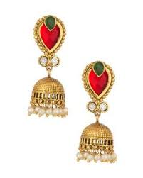 Buy Designer Gold Plated Golden Earrings With Faceted Red Crystal Golden Ball Drop Pearl Buy