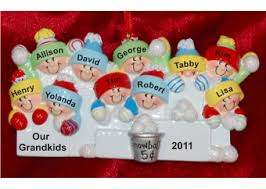 10 grandchildren snowball family ornaments