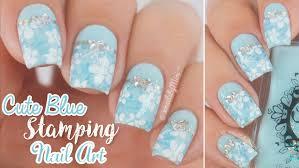 blue stamping nail art using u0027pro collection xl 10