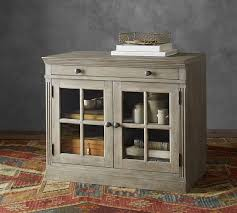 livingston double glass door cabinet pottery barn