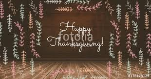 Happy Thanksgiving Photo Happy Thanksgiving Text With Illustrations In Wooden Rustic Room