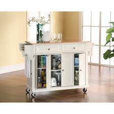 crosley white kitchen cart with natural wood top kf30001ewh the white kitchen cart with natural wood top