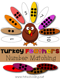turkey feathers number matching totschooling toddler