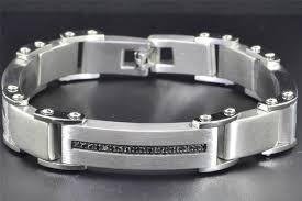 diamond stainless steel bracelet images Black diamond mens stainless steel bracelet brushed fashion link jpg