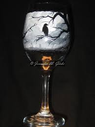 halloween wine glasses hand crafted hand painted dark and wicked wine glass by winoart by