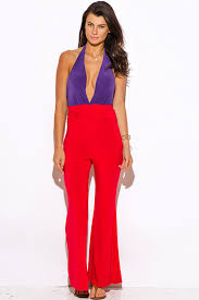 Red And Black Party Dresses Shop Purple And Red Color Block Deep V Neck Ruched Draped Wide Leg