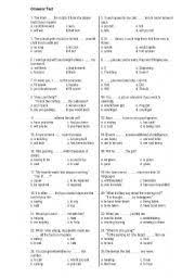 english worksheets grammar formative test for advanced and or