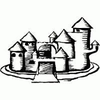coloriage château chevalier sur tête à modeler