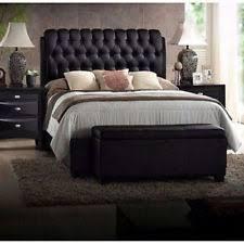 Leather Headboard Platform Bed Kings Brand Black Tufted Design Faux Leather King Size Upholstered