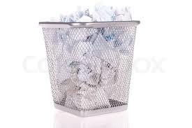 Wastepaper Basket Wastepaper Basket Full Of Wad Paper Stock Photo Colourbox