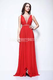 selena gomez red chiffon beaded v neck prom dress la spring
