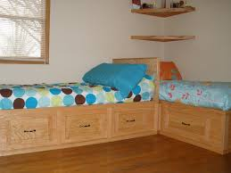 Small Bedroom With Two Beds Ideas Bedroom Cool Oak Unpolished Built In Beds With Drawer As Storage