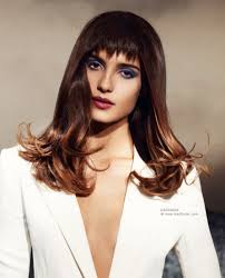 long hairstyle with diagonal highlights and a modern jagged fringe