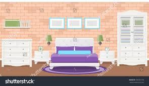 Bedroom With Furniture Bedroom Interior Vector Room Flat Design Stock Vector 590591750