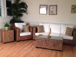 Rattan Living Room Furniture Seagrass Trunk Coffee Table Wicker Rattan End Table With Wooden